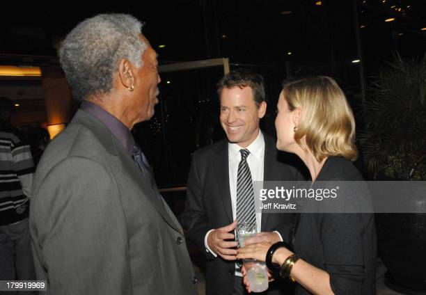 Morgan Freeman Greg Kinnear and Radha Mitchell at the Feast of Love after party at The Academy of Motion Picture Arts and Sciences on September 25...