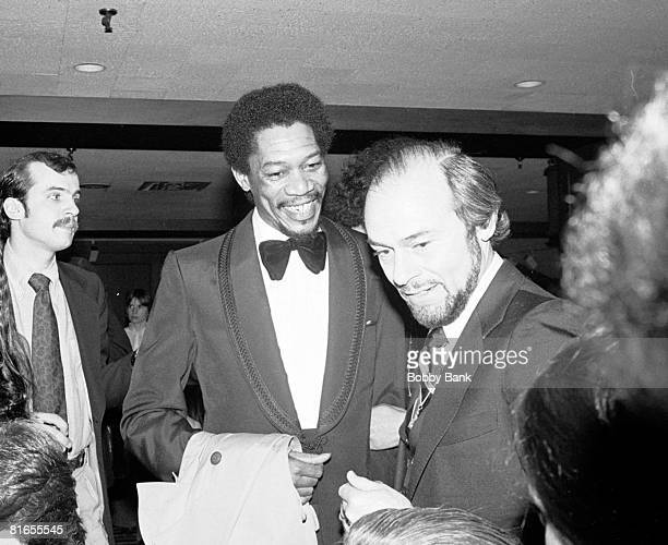 LR Morgan Freeman James Lipton at Mighty Gents Broadway opening party April 12 1978