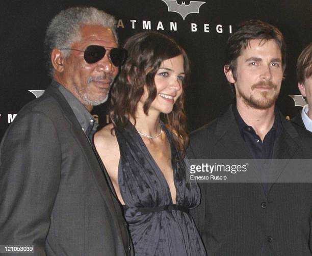 "Morgan Freeman, Katie Holmes and Christian Bale during ""Batman Begins"" Rome Premiere - Arrivals at Warner Village in Rome, Italia RM, Italy."