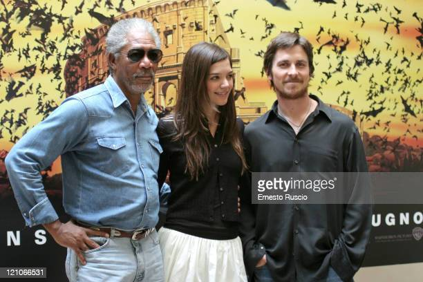 "Morgan Freeman, Katie Holmes and Christian Bale during ""Batman Begins"" Rome Photocall at Hotel St.Regis in Rome, Italy."