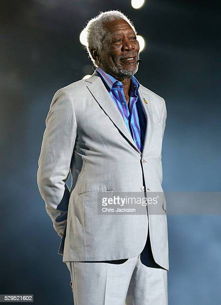 Morgan Freeman on stage during the Opening Ceremony of the Invictus Games Orlando 2016 at ESPN Wide World of Sports on May 8 2016 in Orlando Florida...