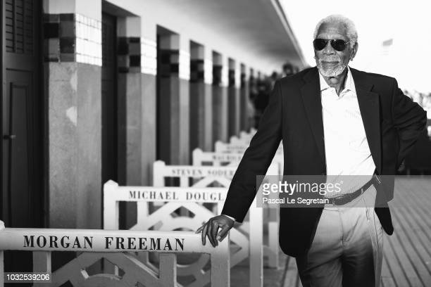 Morgan Freeman poses at his dedicated beach closet as representation of his honorary award during the 44th Deauville American Film Festival on...