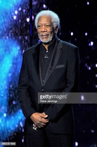 Morgan Freeman speaks onstage during the 2018 Breakthrough Prize at NASA Ames Research Center on December 3 2017 in Mountain View California