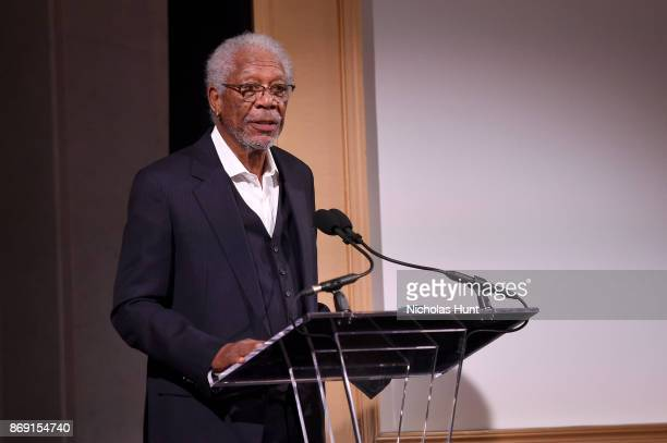 Morgan Freeman speaks onstage during the AFI 50th Anniversary Gala at The Library of Congress on November 1 2017 in Washington DC