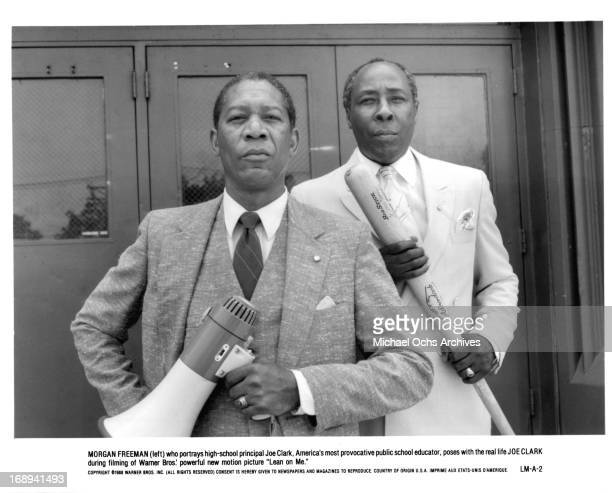 Morgan Freeman stands with Joe Clark who he portrays in the film 'Lean On Me' 1989