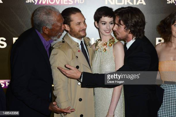 Morgan Freeman Tom Hardy Anne Hathaway and Christian Bale attend the European premiere of The Dark Knight Rises at The BFI IMAX on July 18 2012 in...