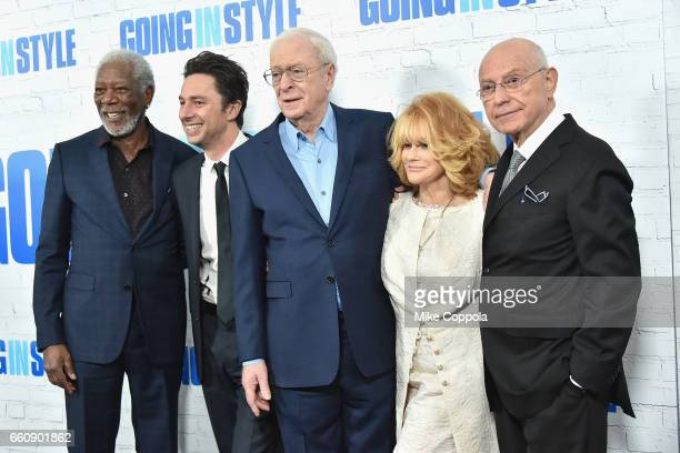 Morgan Freeman Zach Braff Michael Canie AnnMargret and Alan Arkin attend the Going In Style New York Premiere at SVA Theatre on March 30 2017 in New...