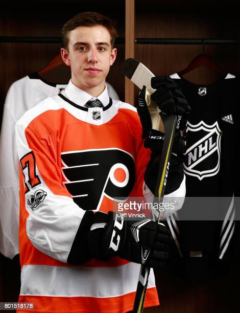 Morgan Frost 27th overall pick of the Philadelphia Flyers poses for a portrait during Round One of the 2017 NHL Draft at United Center on June 23...
