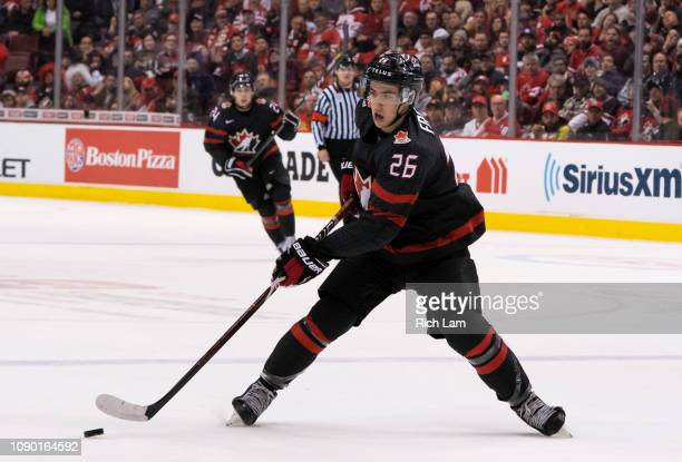 Morgan Frost of Canada skates with the puck in Quarterfinal hockey action of the 2019 IIHF World Junior Championship against Finland on January 2019...