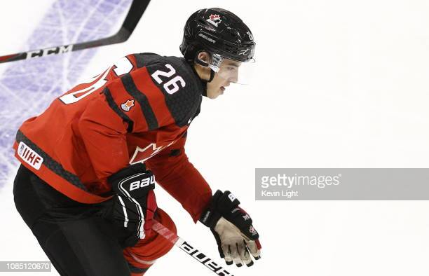 Morgan Frost of Team Canada skates with the puck versus Team Switzerland at the IIHF World Junior Championships at the SaveonFoods Memorial Centre on...