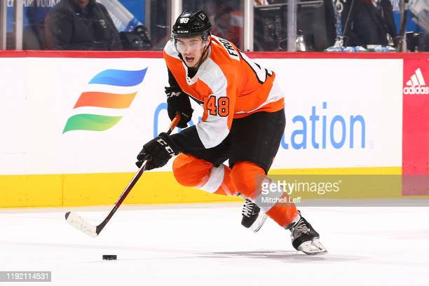 Morgan Frost of the Philadelphia Flyers controls the puck against the Toronto Maple Leafs at the Wells Fargo Center on December 3 2019 in...