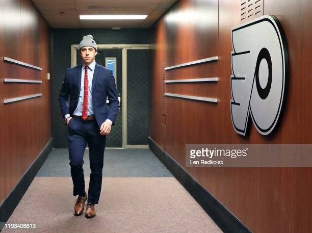 Morgan Frost of the Philadelphia Flyers enters the building on route to the locker room prior to his game against the Arizona Coyotes on December 5...