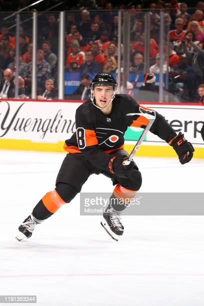 Morgan Frost of the Philadelphia Flyers in action against the Detroit Red Wings at the Wells Fargo Center on November 29 2019 in Philadelphia...