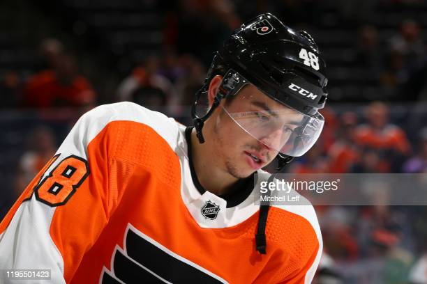 Morgan Frost of the Philadelphia Flyers looks on prior to the game against the Buffalo Sabres at the Wells Fargo Center on December 19 2019 in...