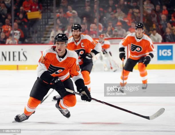 Morgan Frost of the Philadelphia Flyers skates against the Calgary Flames at the Wells Fargo Center on November 23 2019 in Philadelphia Pennsylvania