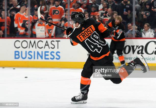 Morgan Frost of the Philadelphia Flyers warms up against the New York Rangers on December 23 2019 at the Wells Fargo Center in Philadelphia...
