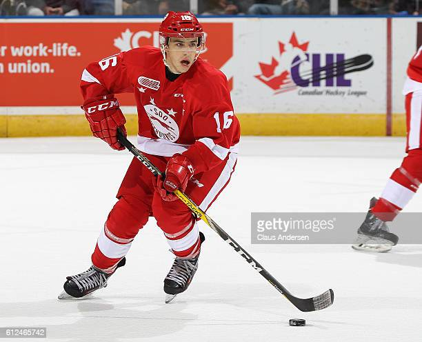 Morgan Frost of the Sault Ste Marie Greyhounds skates with the puck against the London Knights during an OHL game on Sept 30 2016 at Budweiser...