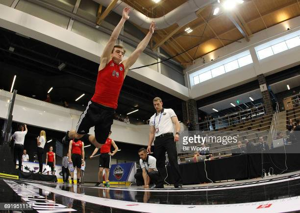 Morgan Frost performs the Long Jump during the NHL Combine at HarborCenter on June 3 2017 in Buffalo New York