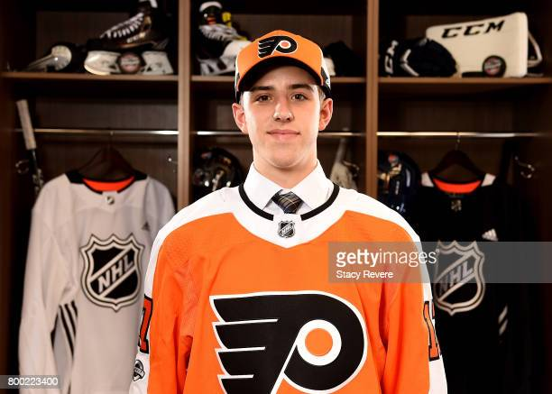 Morgan Frost poses for a portrait after being selected 27th overall by the Philadelphia Flyers during the 2017 NHL Draft at the United Center on June...
