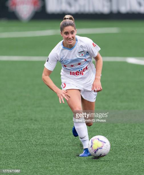 Morgan Gautrat of the Chicago Red Stars dribbles during a game between Chicago Red Stars and Washington Spirit at Segra Field on September 12, 2020...