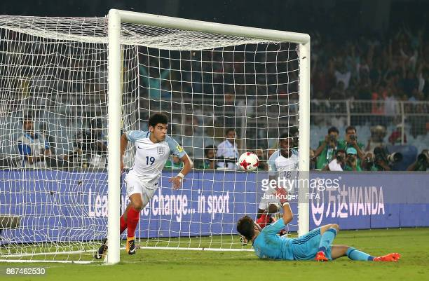 Morgan Gibbs White of England celebrates scoring his team's second goal during the FIFA U17 World Cup India 2017 Final match between England and...
