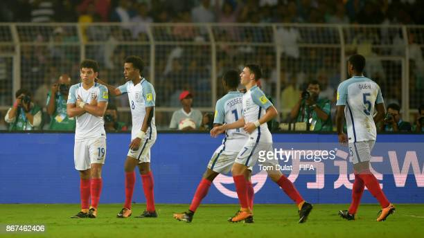Morgan Gibbs White of England celebrates with the team scoring his sides second goal during the FIFA U17 World Cup India 2017 Final match between...