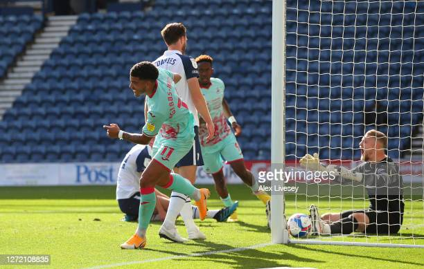 Morgan Gibbs-White of Swansea City celebrates after scoring the opening goal during the Sky Bet Championship match between Preston North End and...