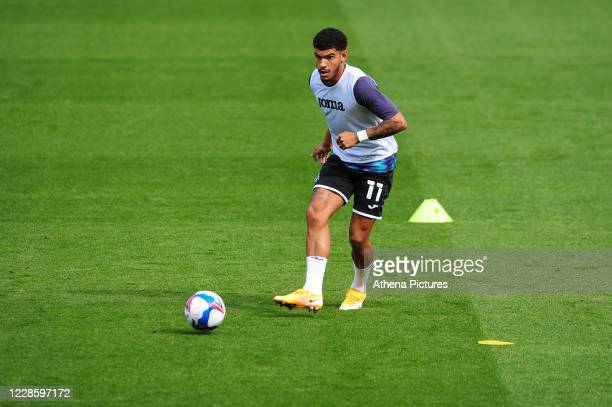 Morgan GibbsWhite of Swansea City during the prematch warmup for the Sky Bet Championship match between Swansea City and Birmingham City at the...