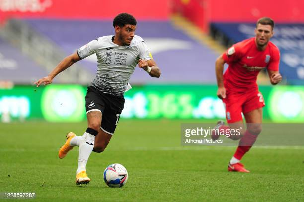 Morgan GibbsWhite of Swansea City in action during the Sky Bet Championship match between Swansea City and Birmingham City at the Liberty Stadium on...