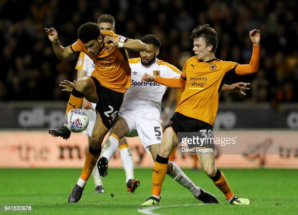 Morgan GibbsWhite of Wolvehampton Wanderers shoots while under pressure from Michael Hector of Hull City during the Sky Bet Championship match...