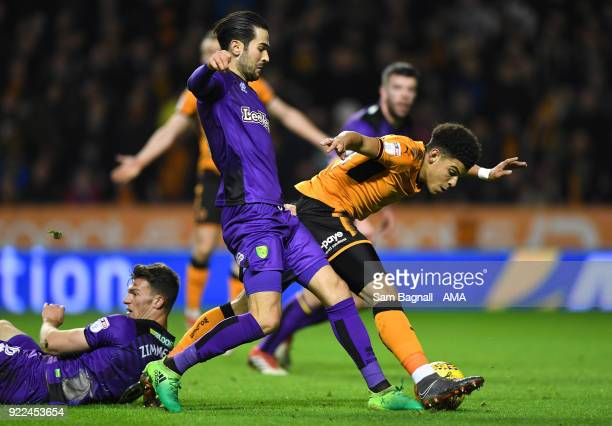 Morgan GibbsWhite of Wolverhampton Wanderers and Mario Vrancic of Norwich City during the Sky Bet Championship match between Wolverhampton Wanderers...