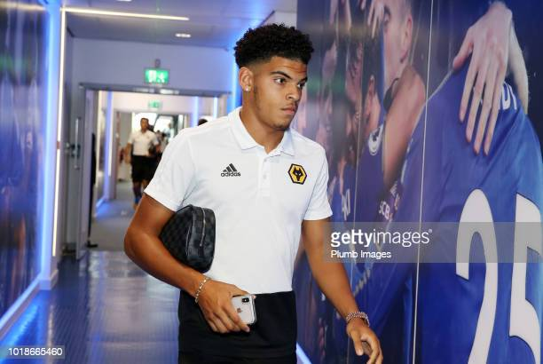 Morgan GibbsWhite of Wolverhampton Wanderers arrives at King Power Stadium ahead of the Premier League match between Leicester City and Wolverhampton...