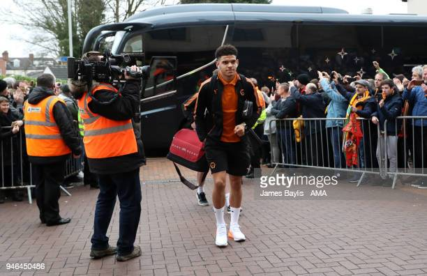 Morgan GibbsWhite of Wolverhampton Wanderers arrives at Molineux Stadium before the Sky Bet Championship match between Wolverhampton Wanderers and...