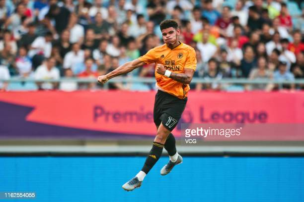 Morgan Gibbs-White of Wolverhampton Wanderers celebrates after scoring a goal during Premier League Asia Trophy match between Newcastle United and...