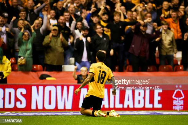 Morgan Gibbs-White of Wolverhampton Wanderers celebrates after scoring his team's fourth goal during the Carabao Cup Second Round match between...