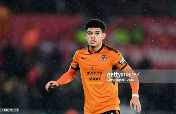 Morgan GibbsWhite of Wolverhampton Wanderers during The Emirates FA Cup Third Round Replay between Swansea City and Wolverhampton Wanderers at...
