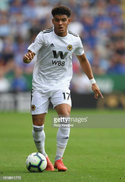 Morgan GibbsWhite of Wolverhampton Wanderers during the Premier League match between Leicester City and Wolverhampton Wanderers at The King Power...
