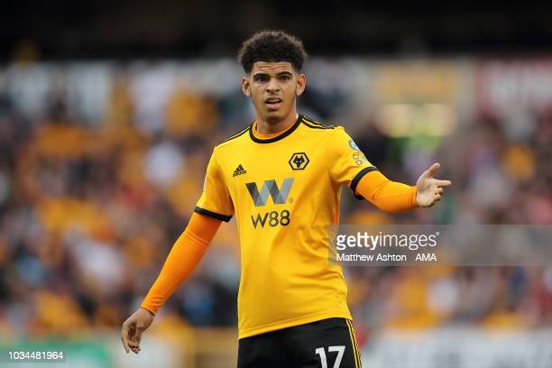 Morgan GibbsWhite of Wolverhampton Wanderers during the Premier League match between Wolverhampton Wanderers and Burnley FC at Molineux on September...