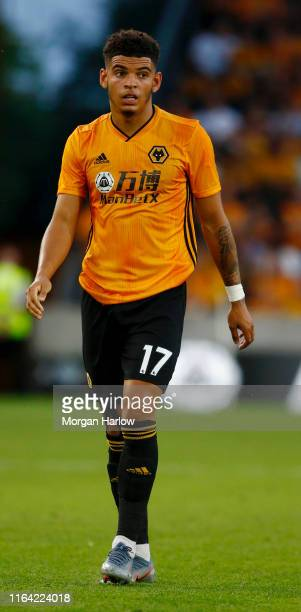 Morgan GibbsWhite of Wolverhampton Wanderers FC reacts during the UEFA Europa League Second Qualifying round 1st Leg match between Wolverhampton...