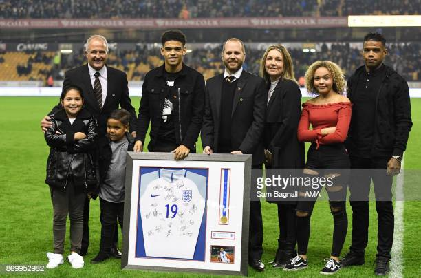 Morgan GibbsWhite of Wolverhampton Wanderers gets presented with a framed World Cup U17 Shirt after winning the World Cup with England during the Sky...
