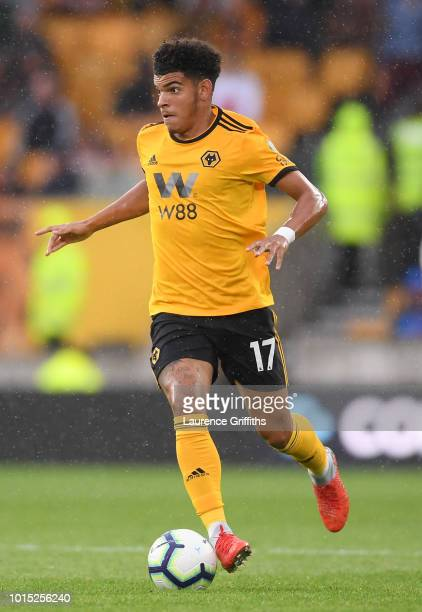 Morgan GibbsWhite of Wolverhampton Wanderers in action during the Premier League match between Wolverhampton Wanderers and Everton FC at Molineux on...
