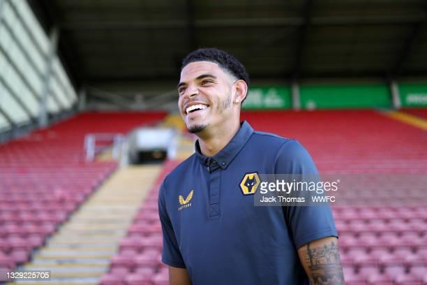 Morgan Gibbs-White of Wolverhampton Wanderers is interviewed following the Pre-Season friendly match between Crewe Alexandra and Wolverhampton...