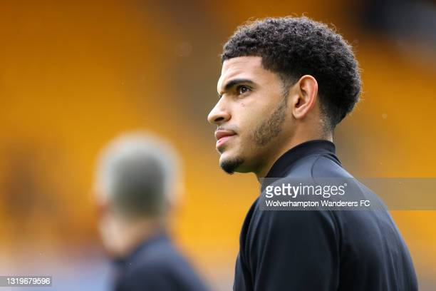 Morgan Gibbs-White of Wolverhampton Wanderers looks on during the Premier League match between Wolverhampton Wanderers and Manchester United at...