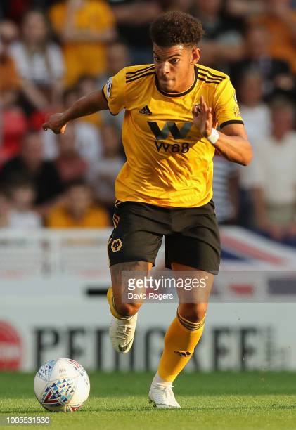 Morgan GibbsWhite of Wolverhampton Wanderers runs with the ball during the preseason friendly match between Stoke City and Wolverhampton Wanderers at...