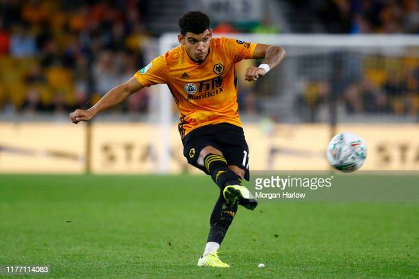 Morgan GibbsWhite of Wolverhampton Wanderers shoots during the Carabao Cup Third Round match between Wolverhampton Wanderers and Reading at Molineux...