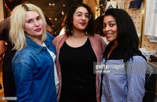 Morgan H West Farrah Skeiky and Courtney Rhodes attend The Wing DC Opening Celebration in Georgeotwn on April 10 2018 in Washington DC