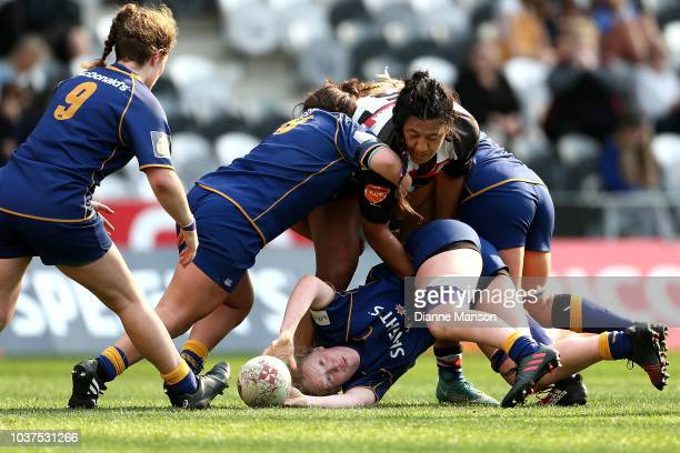 Morgan Henderson of Otago releases the ball during the round four Farah Palmer Cup match between Otago and Counties Manukau at Forsyth Barr Stadium...
