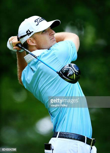 Morgan Hoffman of the United States plays his shot from the 11th tee during the third round of the RBC Canadian Open at Glen Abbey Golf Club on July...