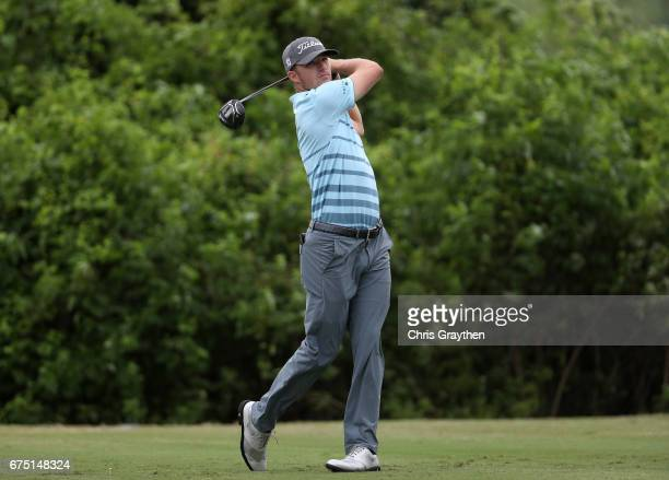 Morgan Hoffman plays his shot from the second tee during the final round of the Zurich Classic at TPC Louisiana on April 30 2017 in Avondale Louisiana