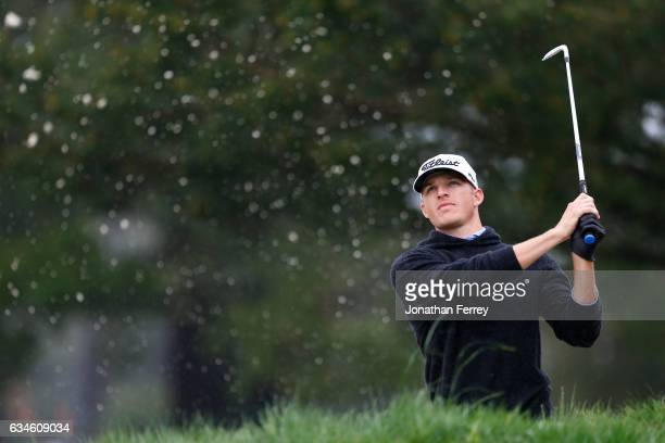 Morgan Hoffmann hits from the bunker on the 2nd hole during Round Two of the ATT Pebble Beach ProAm at Monterey Peninsula Country Club on February 10...